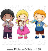 Vector Clipart of a Group of Three Ethnically Diverse Children Holding Toys and Smiling by BNP Design Studio