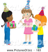 Vector Clipart of a Group of Three Girls Holding Presents and Cake at a Birthday Party by Rosie Piter