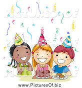 Vector Clipart of a Group of Three Happy Kids Singing Happy Birthday at a Party by BNP Design Studio