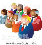 Vector Clipart of a Group of Two Diagonal Rows of Diverse Business People by Prawny