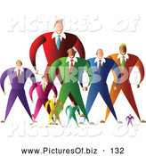 Vector Clipart of a Group or Team of Large and Small Businessmen by Prawny