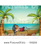 Vector Clipart of a Happy Asian Girl on a Hammock on a Tropical Beach by Graphics RF
