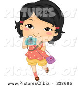 Vector Clipart of a Happy Asian Girl Taking Pictures with Her Camera by BNP Design Studio