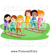 Vector Clipart of a Happy Diverse Stick Girls Racing by BNP Design Studio