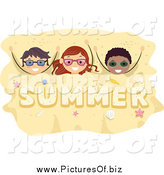 Vector Clipart of a Happy Kids Buried in Summer Sand by BNP Design Studio