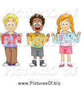 Vector Clipart of a Happy School Children Holding Fun Play Learn Paper Cutouts by BNP Design Studio
