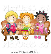 Vector Clipart of a Happy School Kids Waiting on a Bench by BNP Design Studio