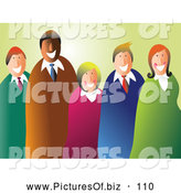 Vector Clipart of a Happy Smiling Business Team of Five over Pastel Green by Prawny