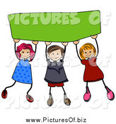 Vector Clipart of a Happy Stick Children Holding up a Blank Green Banner by BNP Design Studio