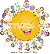 Vector Clipart of a Happy Stick Kids Surrounding the Sun by BNP Design Studio