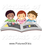 Vector Clipart of a Happy Students Reading a Book on the Planets by BNP Design Studio