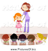 Vector Clipart of a Happy White Female Teacher Giving a Stick Student a Medal by BNP Design Studio