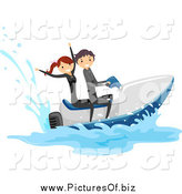 Vector Clipart of a Happy White Stick Couple on a Jetski by BNP Design Studio