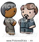 Vector Clipart of a Human Factor Asian Indian and Caucasian Men Talking by Leo Blanchette