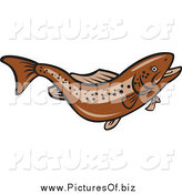 Vector Clipart of a Jumping Brown Trout Fish by Patrimonio