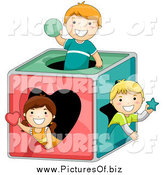 Vector Clipart of a Kids Playing in a Shape Box by BNP Design Studio