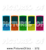 February 1st, 2013: Vector Clipart of a Line of Five Colorful Cell Phones Laying Flat on a Surface by Julos