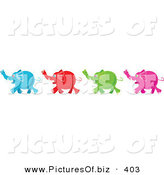 Vector Clipart of a Line of Four Diverse Blue, Red, Green and Pink Elephants by Prawny