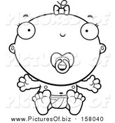 Vector Clipart of a Lineart Baby Infant Girl with a Pacifier by Cory Thoman