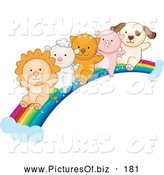 Vector Clipart of a Lion, Lamb, Kitten, Piglet and Puppy Sliding down a Rain Cloud by BNP Design Studio