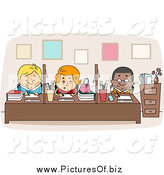Vector Clipart of a Multi Racial Faculty Workers at Desks by BNP Design Studio