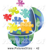 Vector Clipart of a Open Globe with Puzzle Pieces Exploding out by Prawny