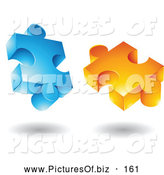 Vector Clipart of a Pair of Blue and Orange Jigsaw 3d Puzzle Pieces by Cidepix