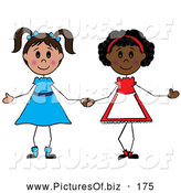 Vector Clipart of a Pair of Diverse Girls Holding Hands by Pams Clipart