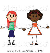 Vector Clipart of a Pair of Diverse Little Girls Holding Hands by Pams Clipart
