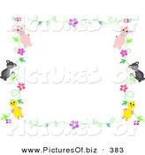 Vector Clipart of a Pig, Cat and Chick Floral Stationery Border on White by