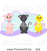 Vector Clipart of a Piglet, Kitten and Chick on Blue and Purple by Bpearth