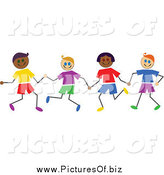 Vector Clipart of a Playful Group of Diverse Stick Boys Holding Hands by Prawny