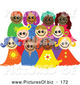Vector Clipart of a Posing Group of Happy Diverse Children Smiling and Looking Forward by Prawny