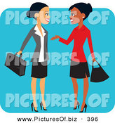 November 28th, 2012: Vector Clipart of a Pretty Hispanic and Black Business Women Chatting on a Blue Square by Monica
