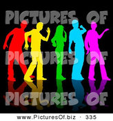 Vector Clipart of a Rainbow Colored Group of Dancers on Reflective Black by Dero