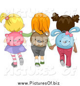Vector Clipart of a Rear View of Diverse School Girls Wearing Animal Backpacks by BNP Design Studio