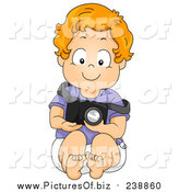 January 3rd, 2016: Vector Clipart of a Red Haired Caucasian Toddler Boy Pretending to Be a Photographer by BNP Design Studio