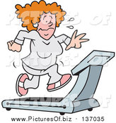 Vector Clipart of a Red Haired White Woman Sweating and Running on a Treadmill by Johnny Sajem