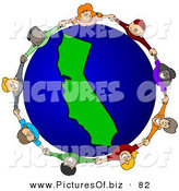 Vector Clipart of a Ring of Children Holding Hands Around a California Globe by Djart