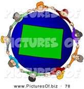 Vector Clipart of a Ring of Children Holding Hands Around a Colorado Globe by Djart