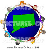 Vector Clipart of a Ring of Children Holding Hands Around a Connecticut Globe by Djart