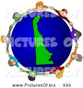 Vector Clipart of a Ring of Children Holding Hands Around a Delaware Globe by Djart