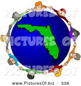 Vector Clipart of a Ring of Children Holding Hands Around a Florida Globe by Djart