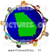 Vector Clipart of a Ring of Children Holding Hands Around a Georgia Globe on White by Djart