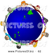 Vector Clipart of a Ring of Children Holding Hands Around a Hawaii Globe on White by Djart