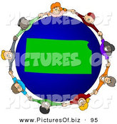 Vector Clipart of a Ring of Children Holding Hands Around a Kansas Globe on White by Djart