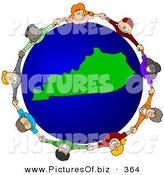 Vector Clipart of a Ring of Children Holding Hands Around a Kentucky Globe by Djart