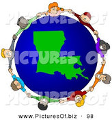 Vector Clipart of a Ring of Children Holding Hands Around a Louisiana Globe by Djart