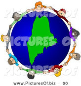 Vector Clipart of a Ring of Children Holding Hands Around a Maine Globe by Djart