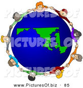 Vector Clipart of a Ring of Children Holding Hands Around a Maryland Globe by Djart